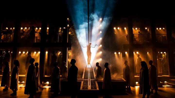 A photo of the crucifixion scene from the touring production of Jesus Christ Superstar